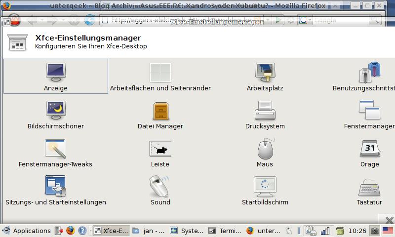 Xubuntu-Einstellmöglichkeiten