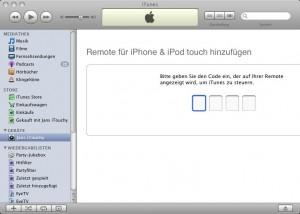 Um Apple Remote nutzen zu können, muss man iTunes einen vierstelligen Code eingeben