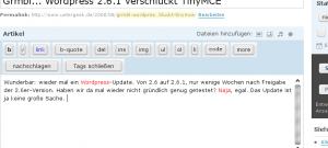 Wordpress ohne WYSIWYG-Editor - nach dem Update auf 2.6.1