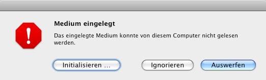 Warnbox: iPod Classic wird als neues Medium erkannt