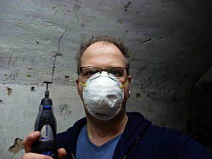 Me with a surgical mask and a Dremel tool