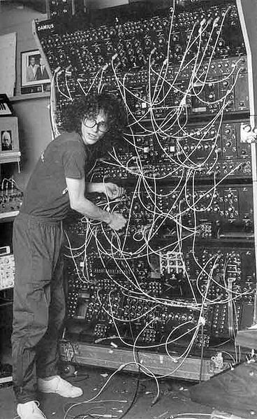 Steve Porcaro (Toto) and his  massive modular synthesizer. (CC BY jamesthephotographer via Wikimedia Commons)