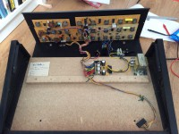 Jen SX housing opened: front panel with analog PCBs on top, keyboard with scan/divider chip removed