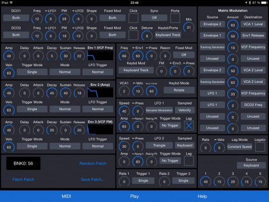 Patch Touch app screenshot - all parameters of a sound on one page