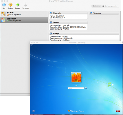 Windows 7 in einer Virtualbox