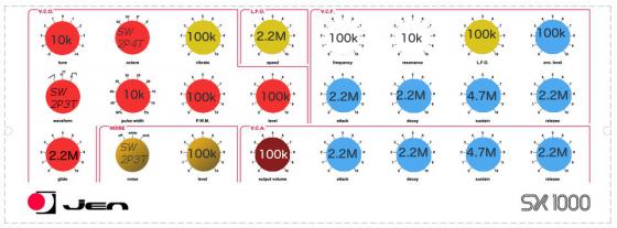 JEN colour caps and potentiometer values