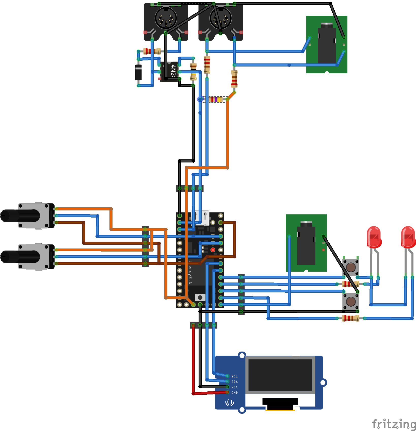 V20 A Teensy Based Midi Controller Untergeekuntergeek Wiring Diagram It To Breadboard With Pinstripe Connectors Quite Simple And Much Less As Would Seem From The Schematic Above